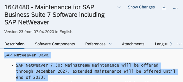 1648480 SAP note - SAP PO in version 7.5 will be supported till 2030