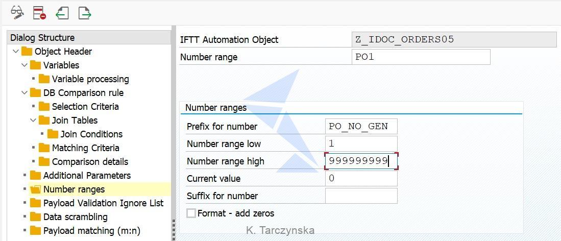 Int4 IFTT PO Number Range