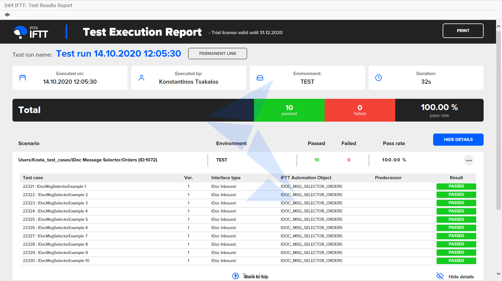 Execution report
