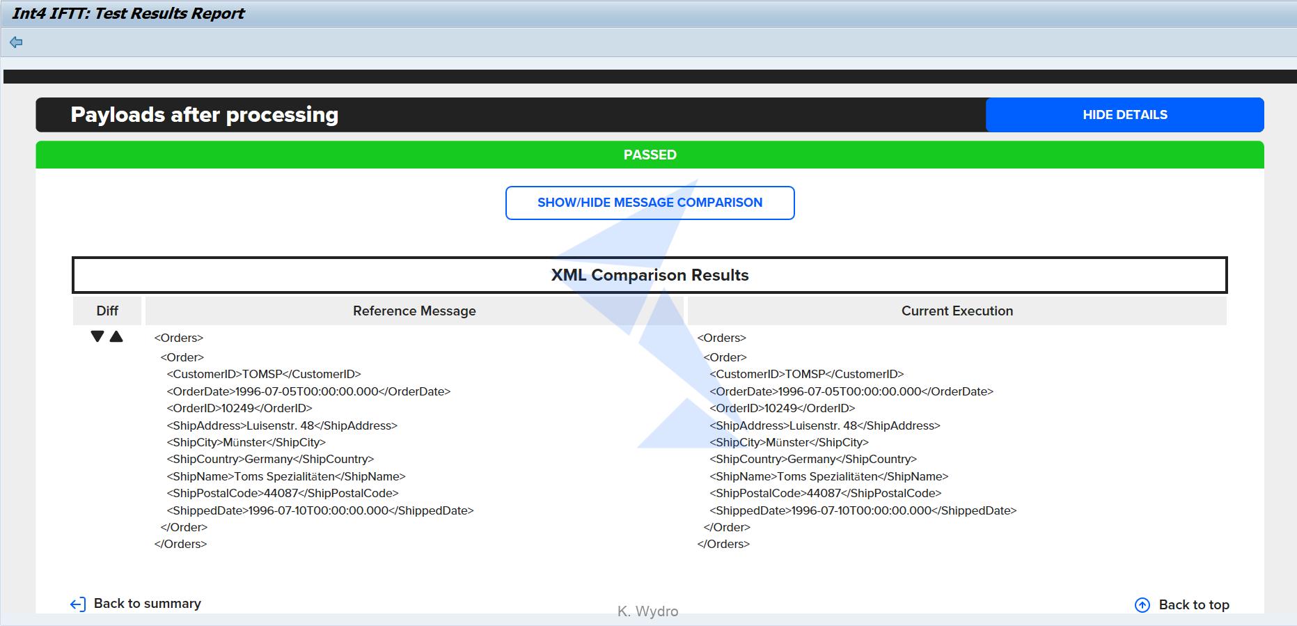 Int4 IFTT - Test case messages comparison
