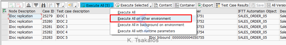 Test case execution on other environment
