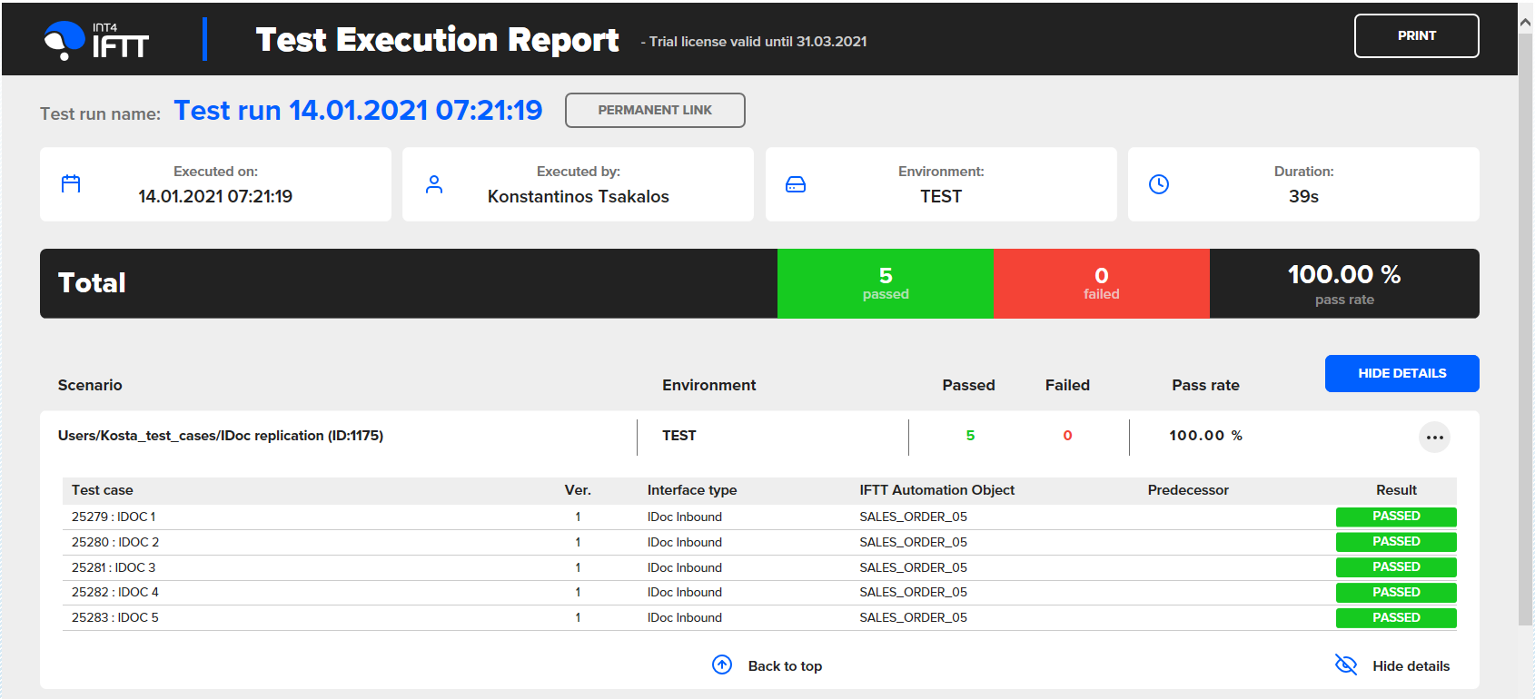 Test Execution Report
