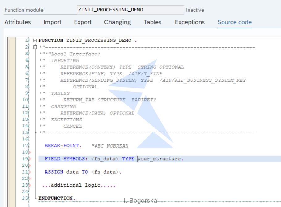 Function module ZINIT_PROCESSING
