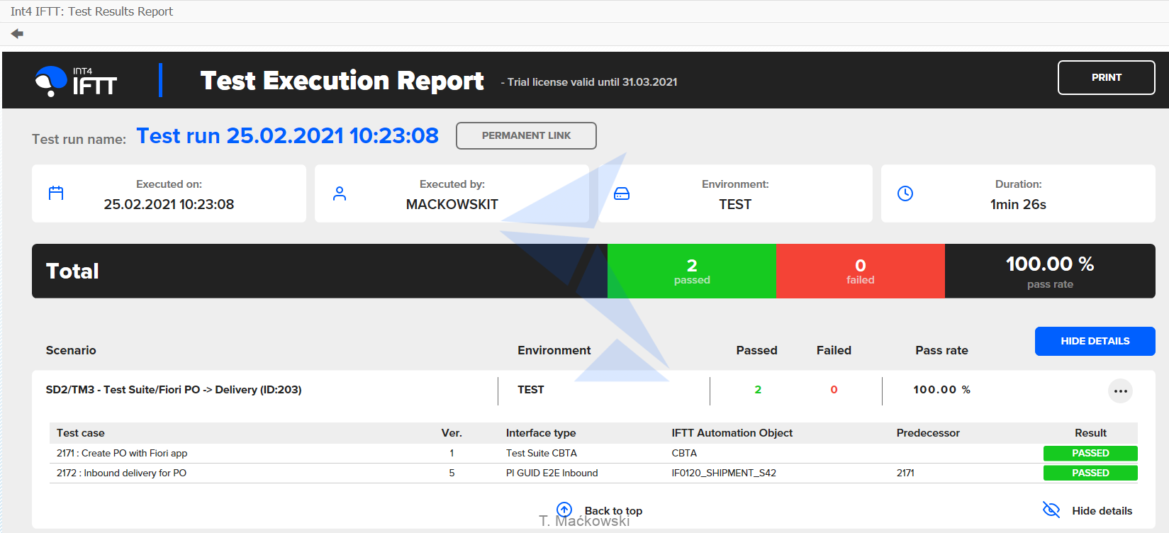 Int4_IFTT_Test_execution_report
